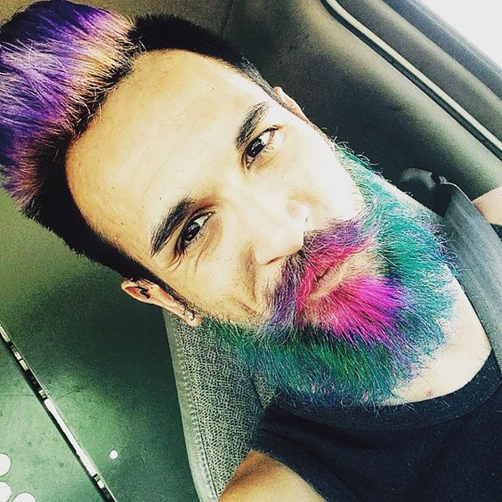 colored pompadour and colored mustache Colored Beard Styles 2018
