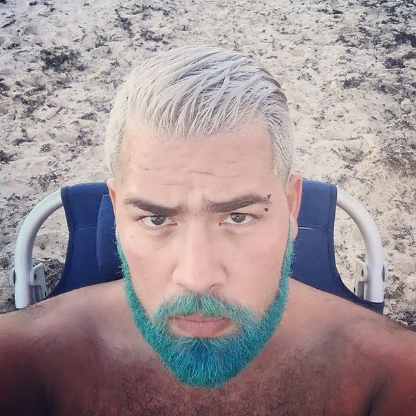 blue beard comb over hairstyles Colored Beard Styles 2018