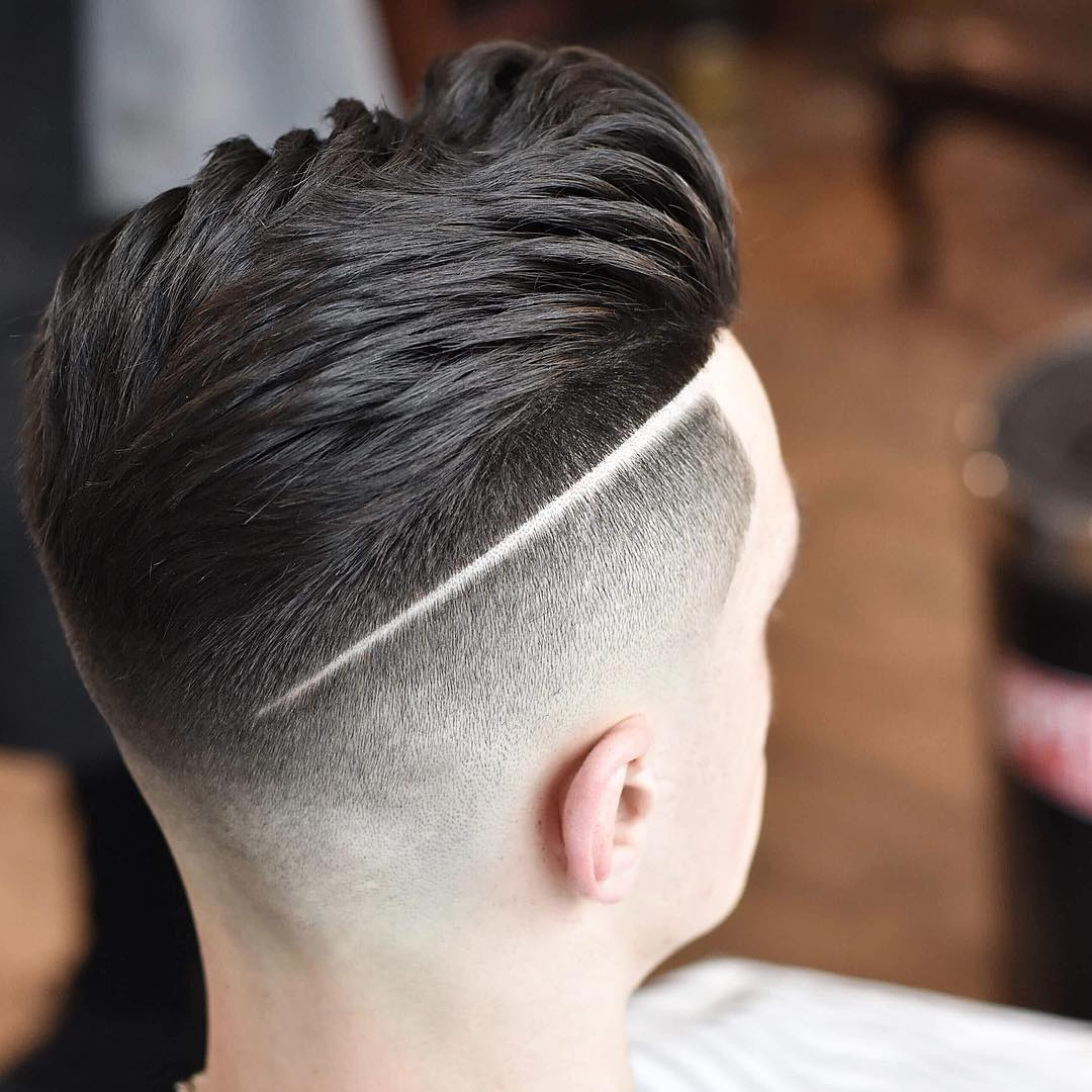 barber.josh.o.p pomp fade shaved line Popular The Pompadour Haircut