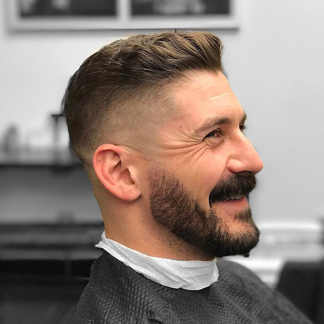 barbergreg side part fade mustache best hairstyle for men the gentleman haircut