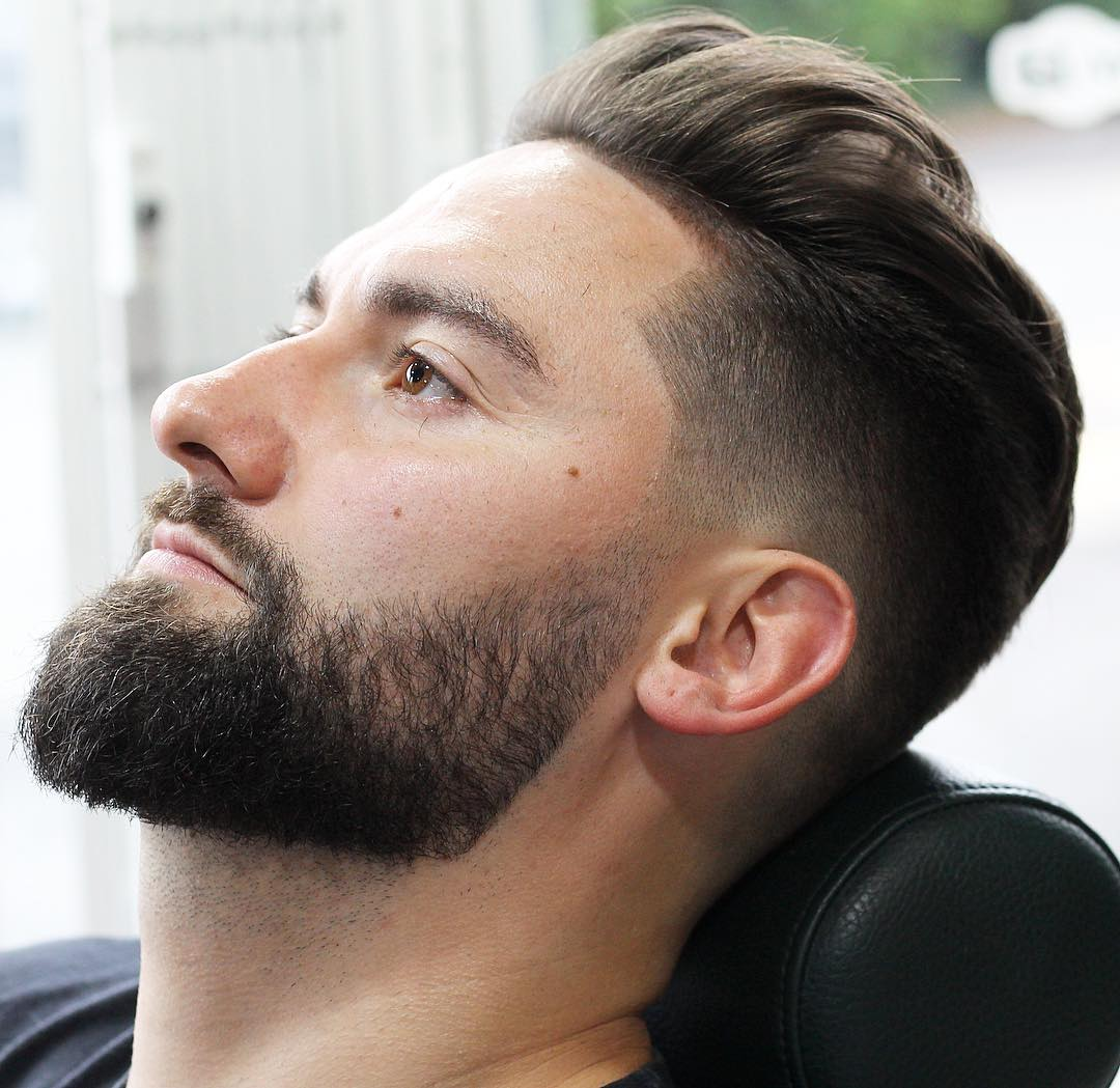 groomed_barber_club skin fade with beard best hairstyle for men the gentleman haircut