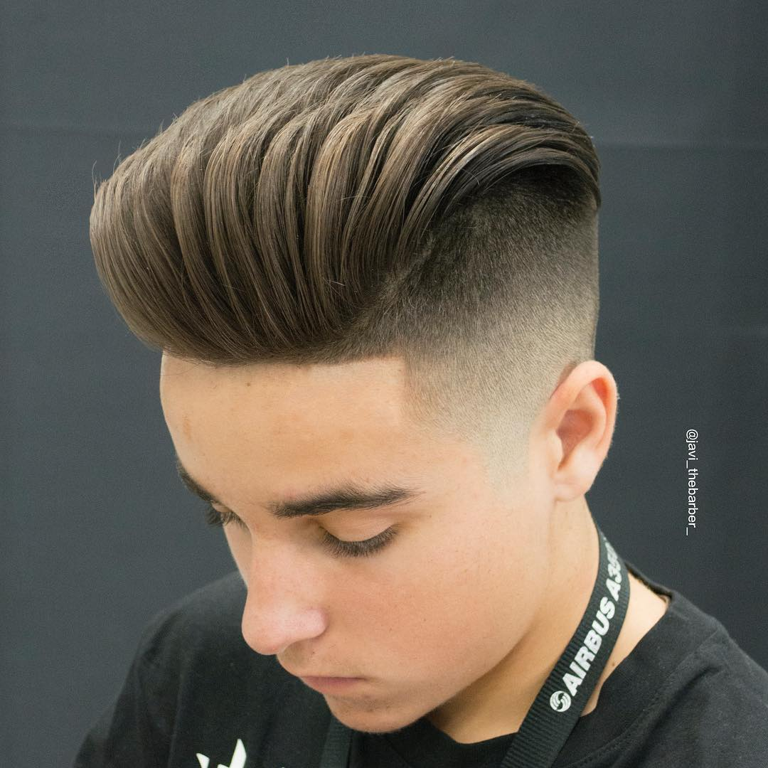 javi_thebarber_ comb over skin fade Popular The Pompadour Haircut