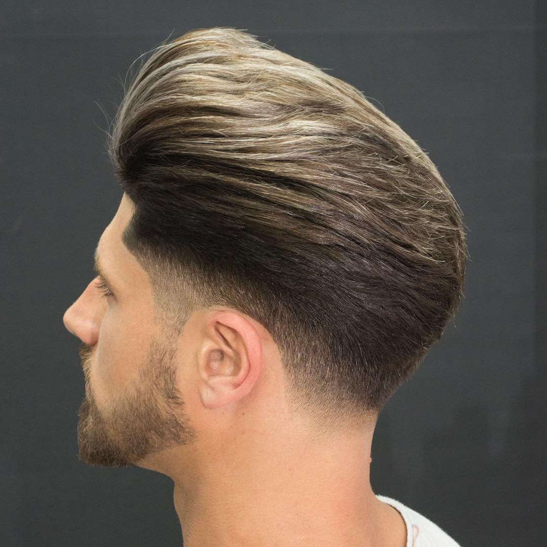 javi_thebarber_ medium length huge pomp fade Popular The Pompadour Haircut