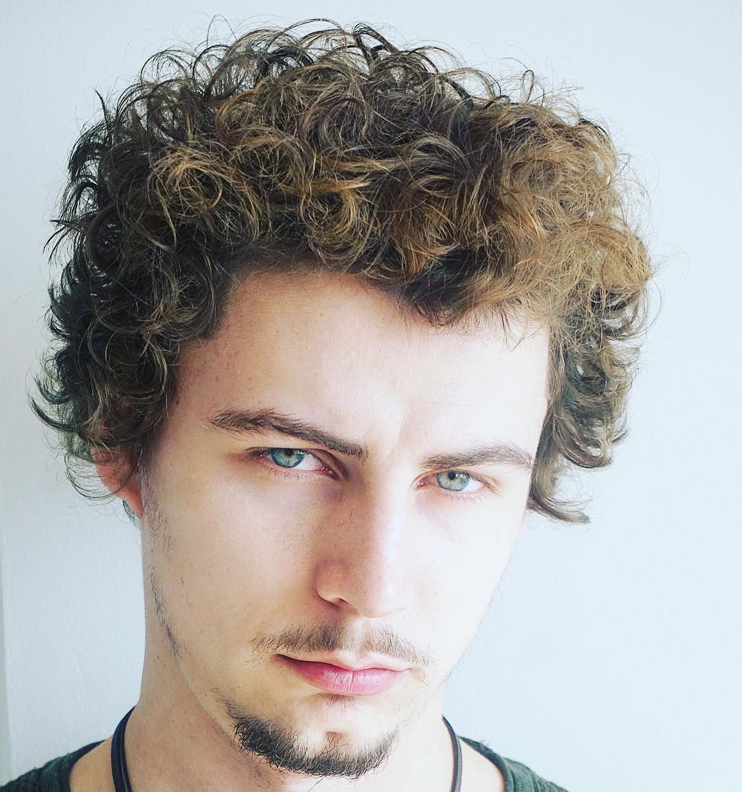 joshlamonaca curly with mustache long hairstyles for men 2018