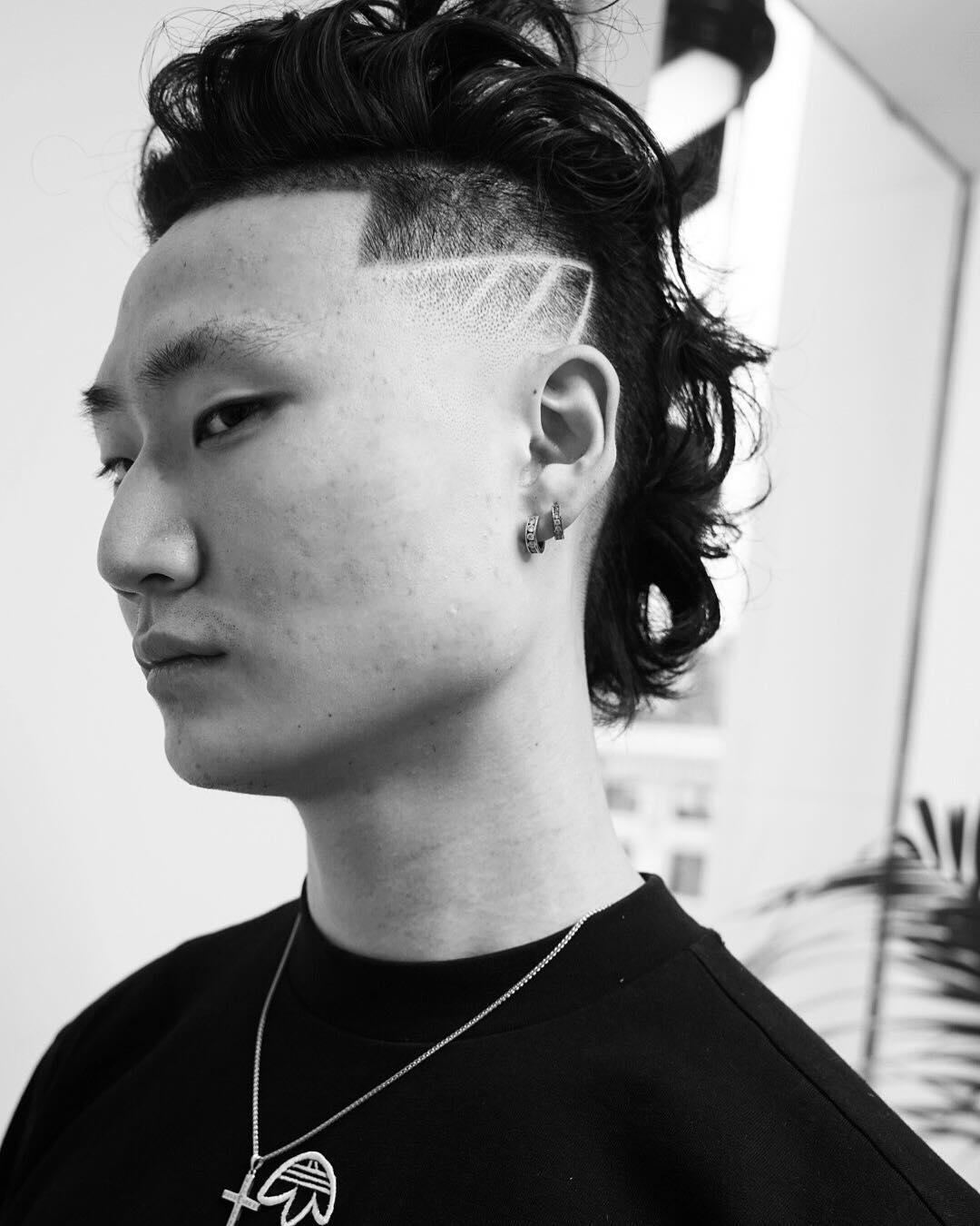 juliuscaesarlong hair side part fade designed mens haircuts