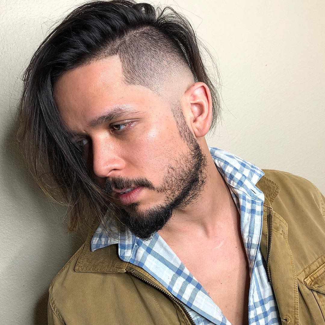 luiiisc_ straight hair side part temple fade long hairstyles for men 2018