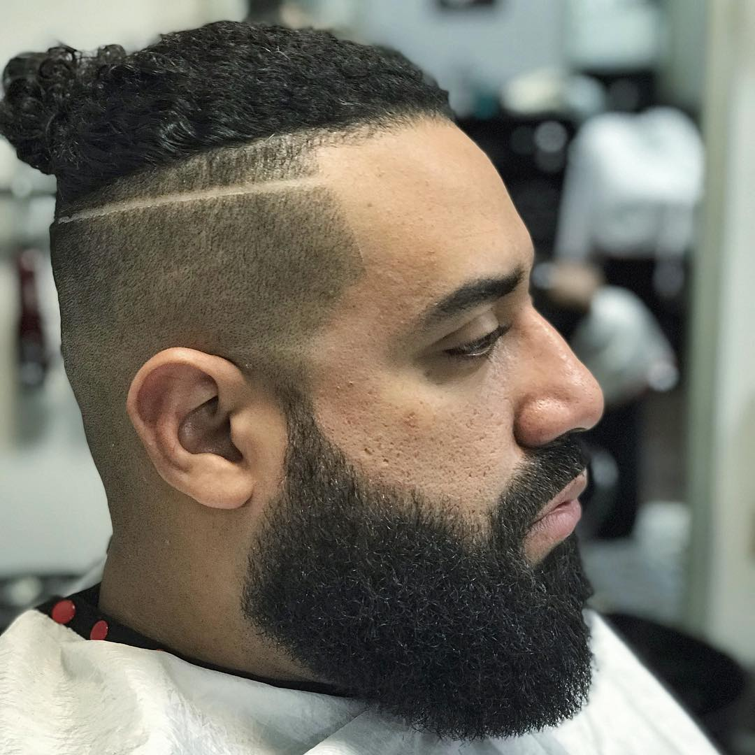lxvesosa curly man bun shaved line huge beard latest mens hairstyles 2018