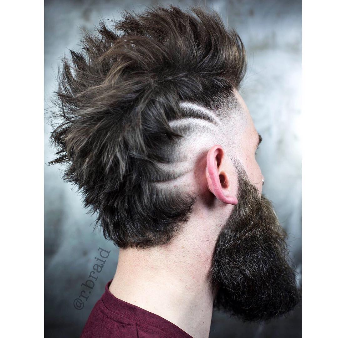 r.braid barber spikes razor design huge beard long hairstyles for men 2018