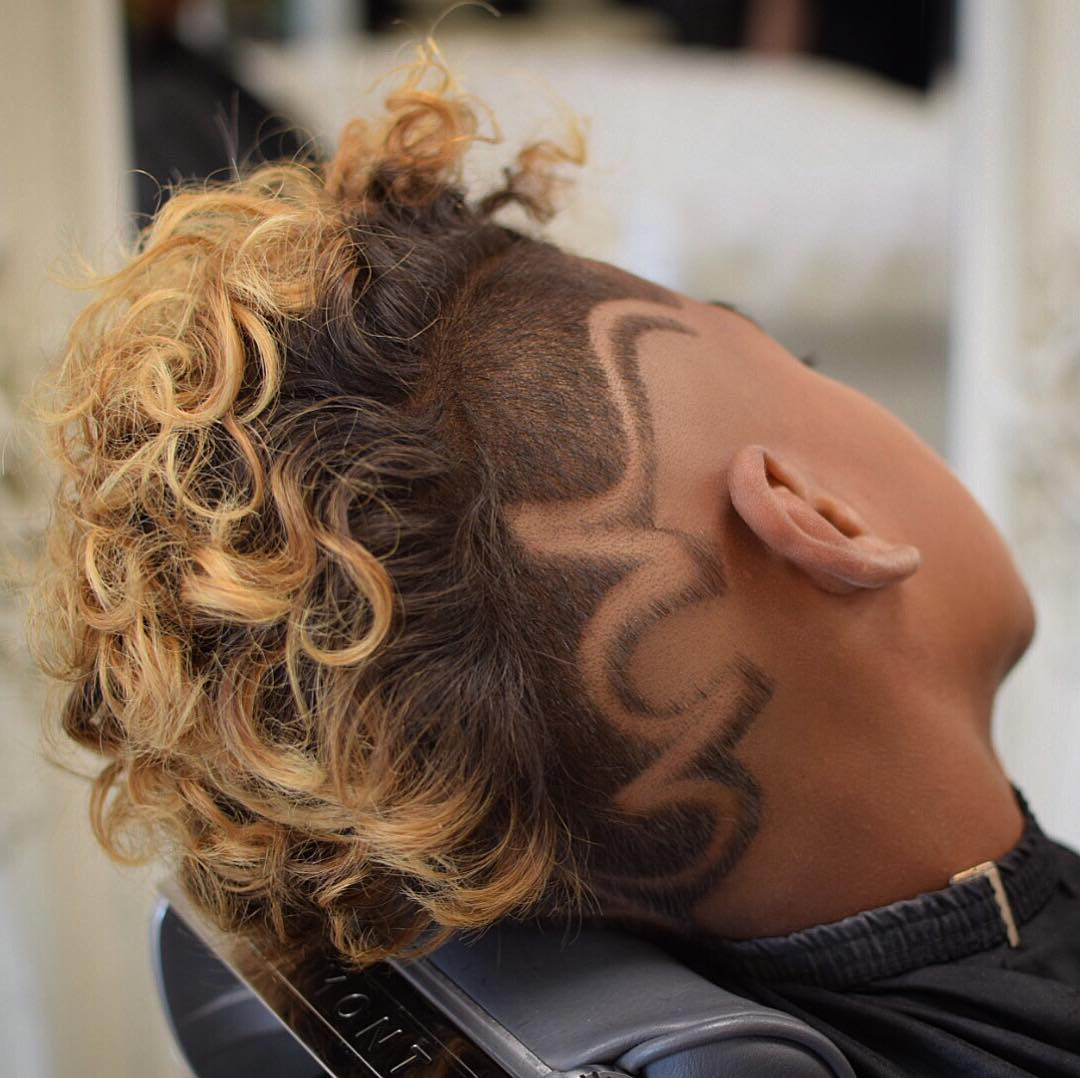 raggos_barbering curly top with side part design low fade haircuts medium length haircuts 2018