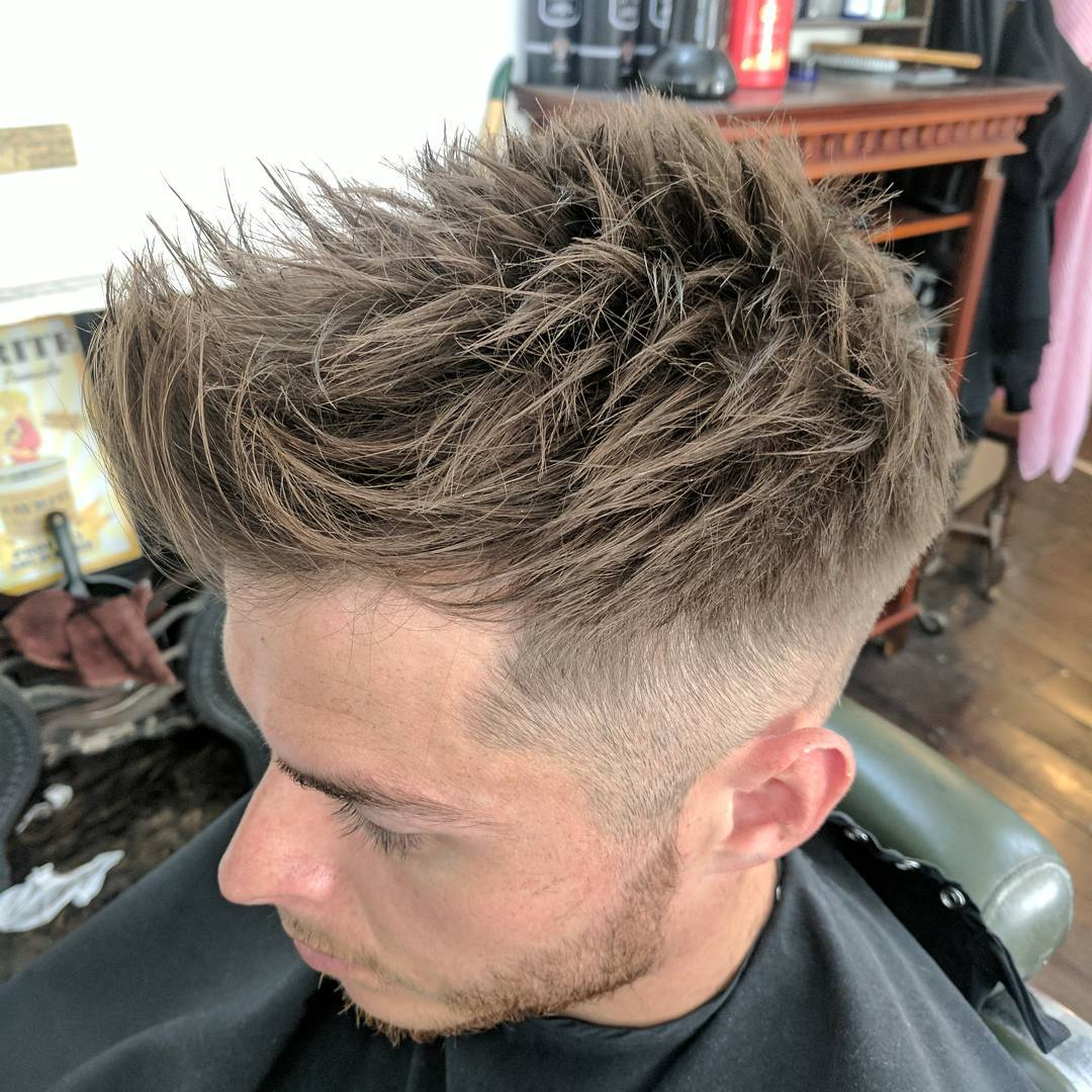 ross_blue_steel_barber spiky hairstyle with side part fade haircuts medium length haircuts 2018