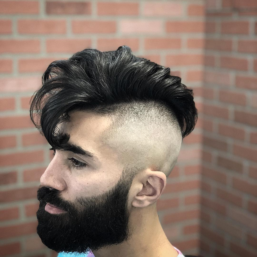 bonezdagoat Mens Medium Length Hairstyles side part pomp with beard
