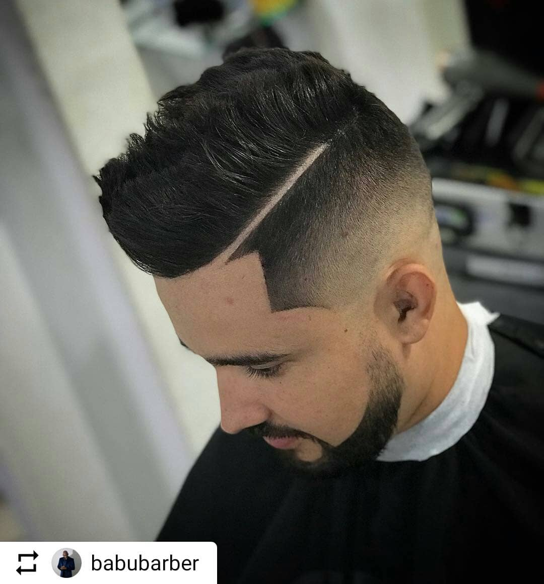 barber_world_repost taper fade haircut with shaved line