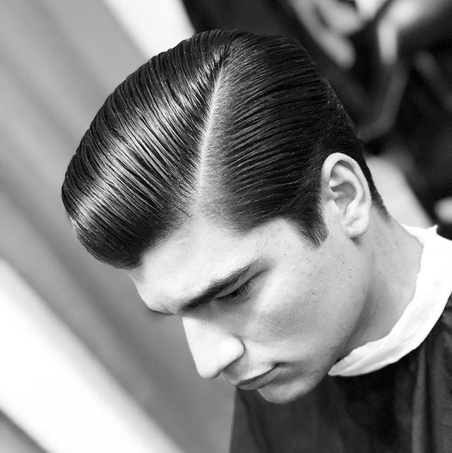 brinie side part pompadour haircut