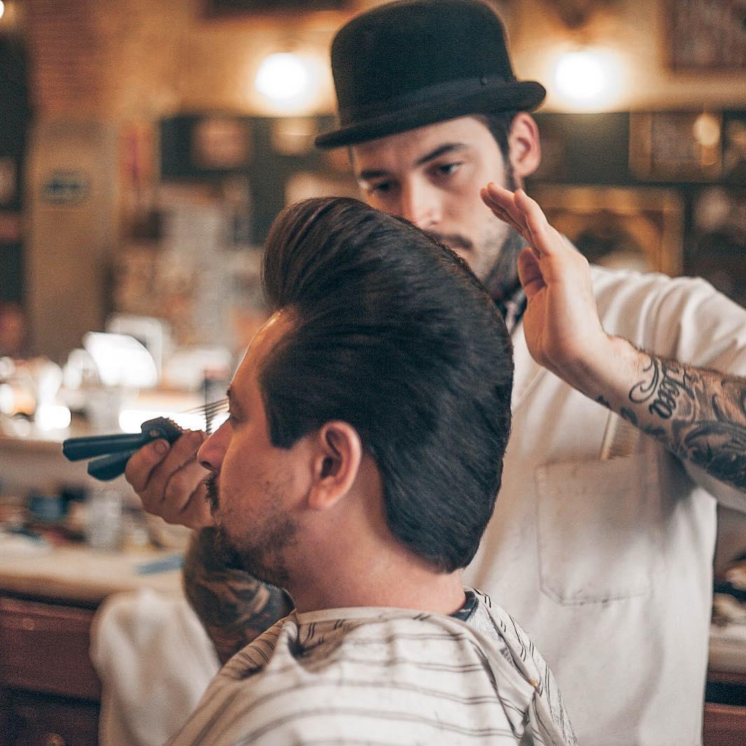 figarosbarbershoplisboa Elvis Pompadour Hairstyle ducktail pompadour haircut