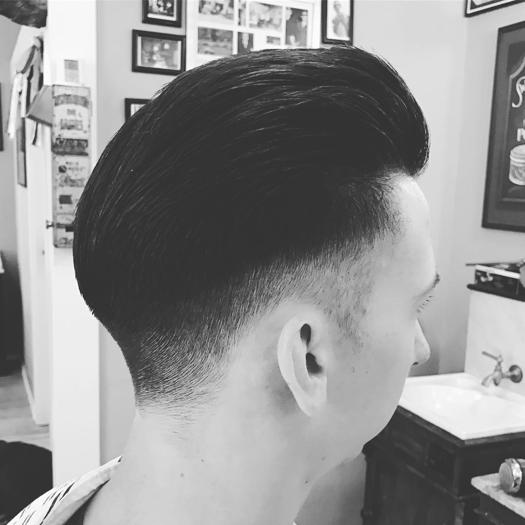 holytigerbarbershopgraz slick back pomp pompadour haircut
