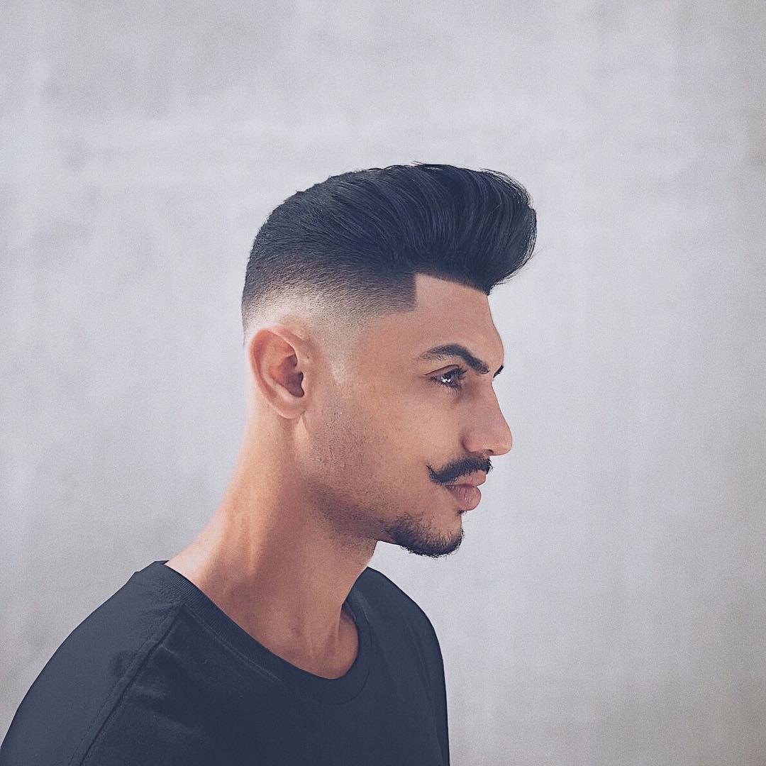 seuelias side part haircut high fade pompadour haircut