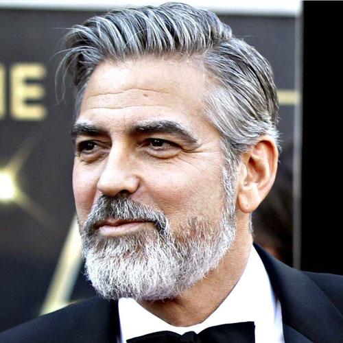 George Clooney medium length hair with beard