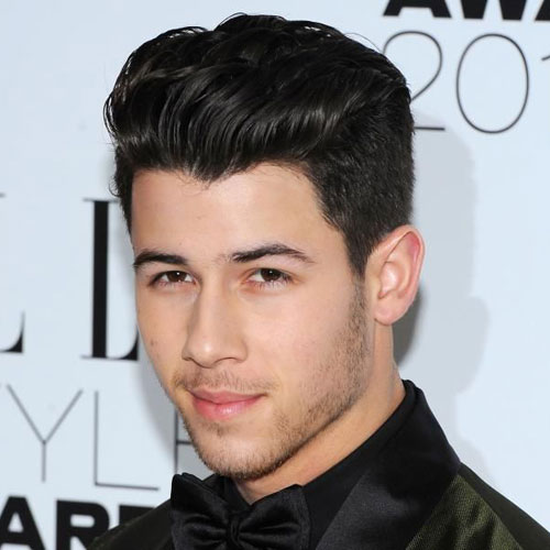 Nick Jonas haircut medium quiff pomp celebrity hairstyles for men