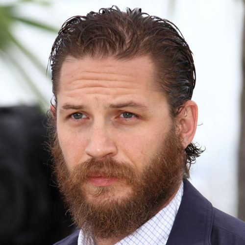 tom hardy slick back haircut beard celebrity hairstyles for men