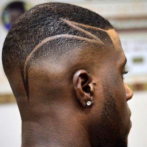 black men fades with razor cut tattoo