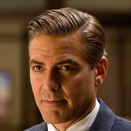 george clooney haircut high fade comb over slick back