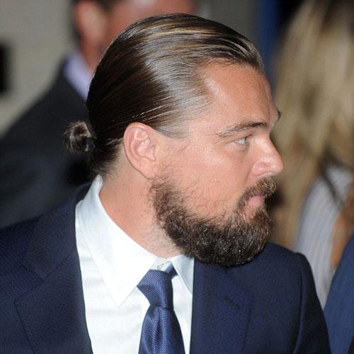 leonardo dicaprio man bun celebrity hairstyles for men