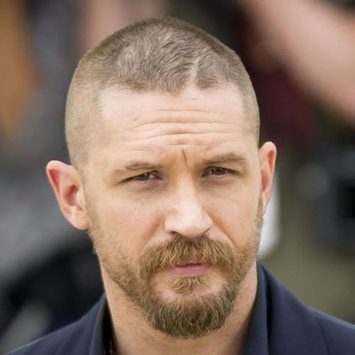 tom hardly buzz cut side part haircut celebrity hairstyles for men