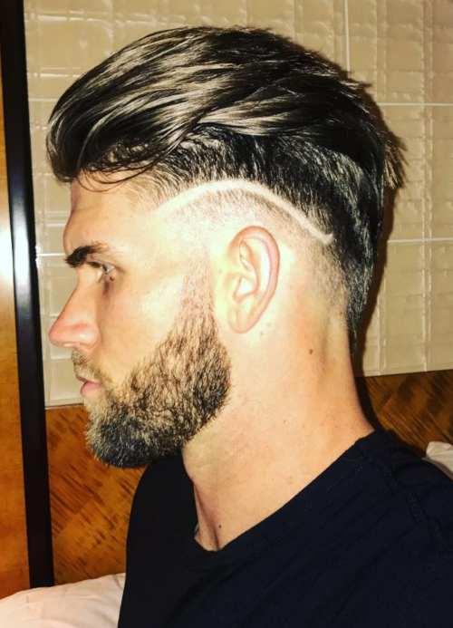 bryce harper slicked back hairstyle with shaved line