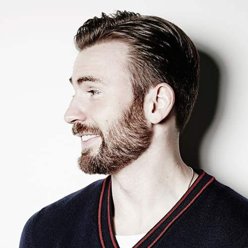 chris evans hairstyle with beard side view style
