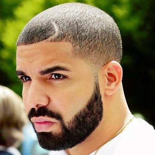 drake buzz cut with razor cut hairstyle