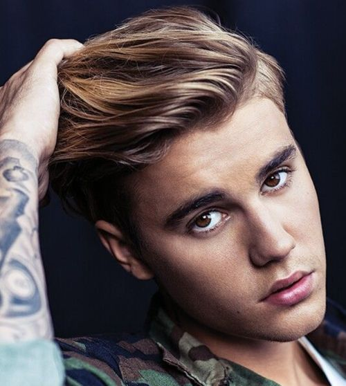 11 justin bieber highlighted short comb hairstyle