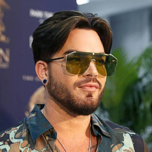 6 adam lambert medium length hairstyle two side comb