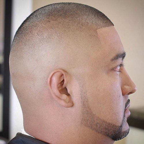 bald fade sharp line up haircut