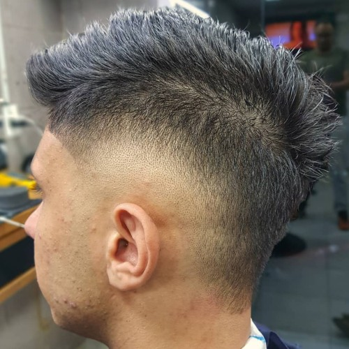 high skin fade side burst fade hairstyle