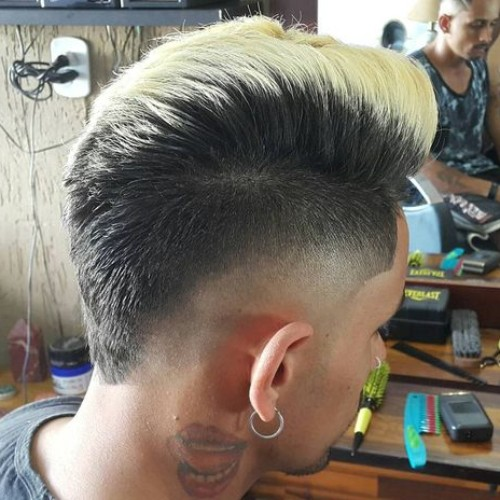 low fade haircut highlighted pompadour blonde mohawk fade