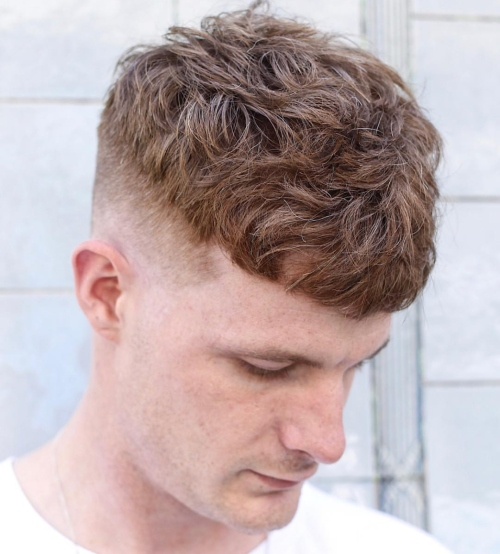 mens wavy hairstyles cropped side part high fade haircut