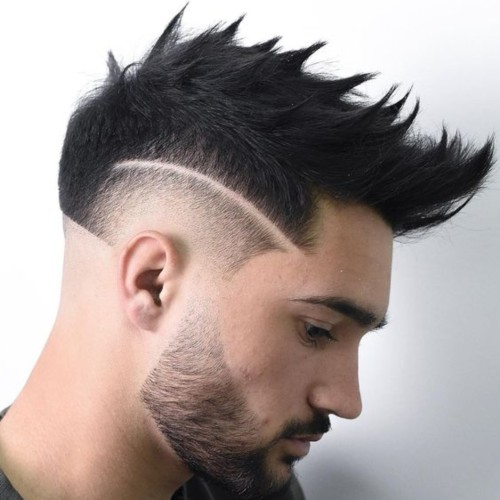 modern spiky side part shaved cut burst fade hairstyle
