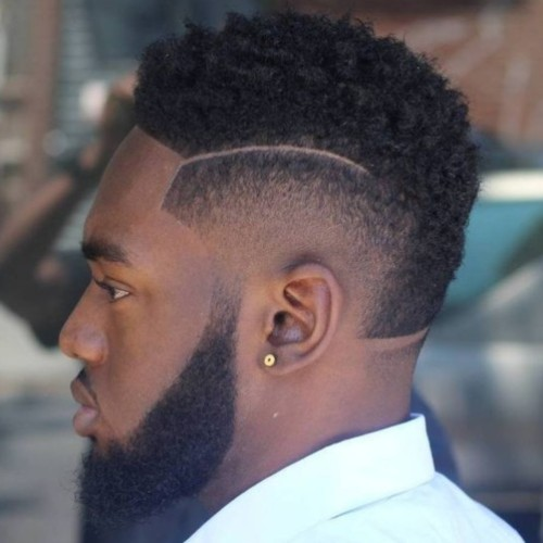 mohawk fade black man hair design curly fade
