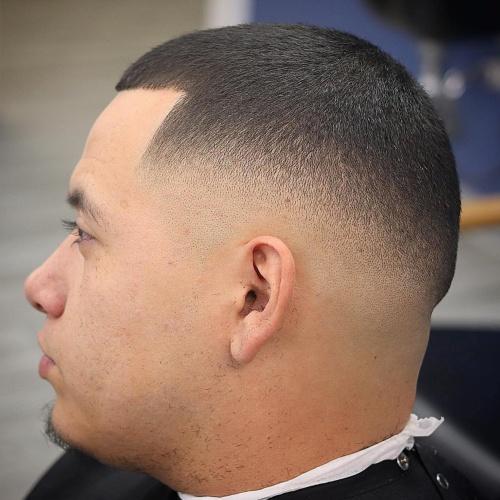 short buzz cut line up high low fade haircut
