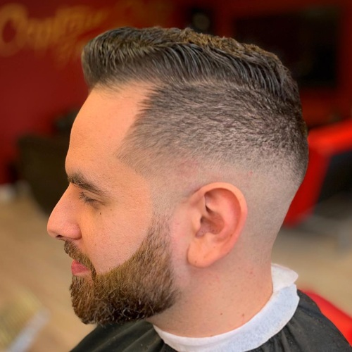 short comb low textured line up haircut