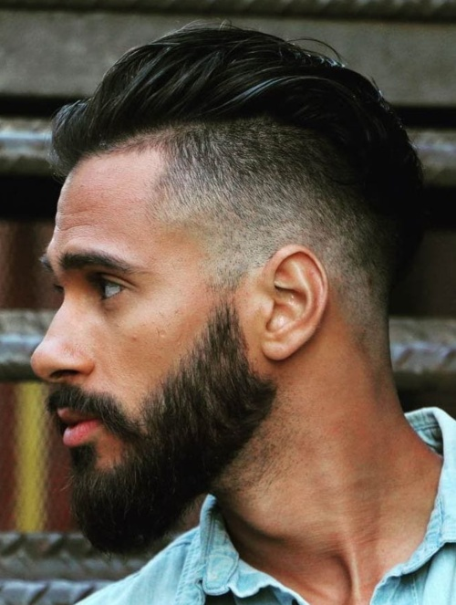 slicked back undercut men beard style