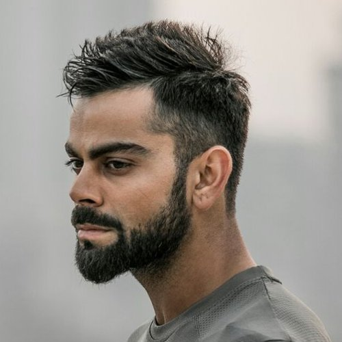 virat kohli spiky hairstyle with taper fade