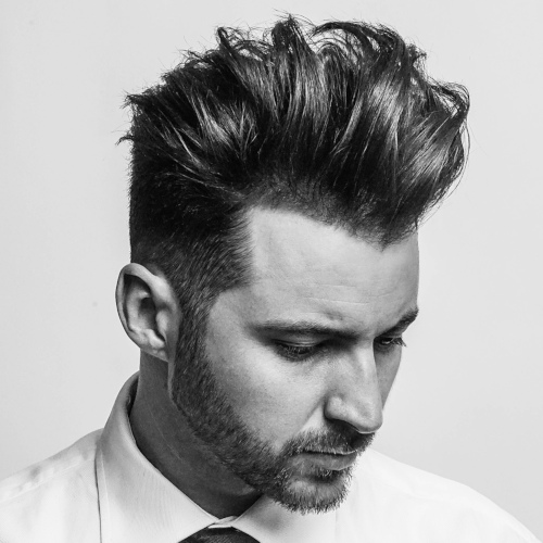 line up fade high textured layered messy hairstyle mens