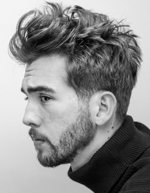 mens messy hairstyle with beard style