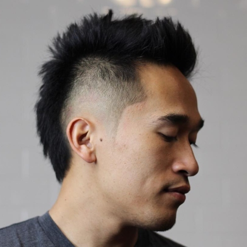 mohawk fade hairstyle with messy hairstyles for men with short hair